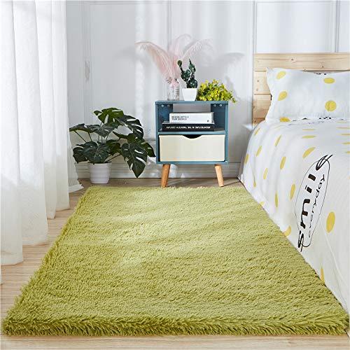 Alfombra de piel de oveja sintética supersuave y gruesa para sala de estar, dormitorio, dormitorio, decoración del hogar, alfombra de pelo de fuax (1,8 m x 2,7 m, color salvia)