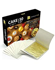 24K GoldleafKing Cake Edition 50 Combo Pack | Edible Gold Leaf Sheet - 50 Sheets x 1.2 inches | Smaller Size - a Perfect bite | Edible Gold Leaf for Cake Decorating - Edible Gold Leaf Sheets