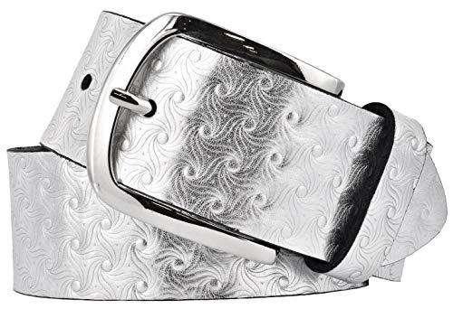 Bernd Götz Damen Leder Gürtel 40 mm silber Nappaleder metallic Damengürtel (100 cm)