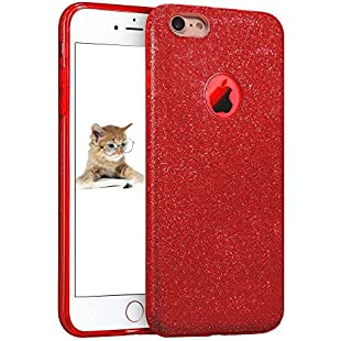 """iPhone 7 Case 4.7"""", uiano® Sparkling Premium [3 in 1 Layers Protection] Hybrid Glitter Bling TPU phone Case Cover For iPhone 7 (Red) [Lifetime Warranty]"""