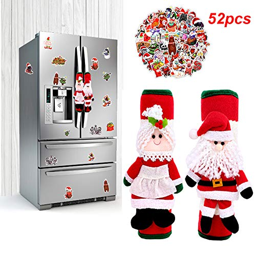 BIMZUC Christmas Refrigerator Door Handle Covers, Santa Kitchen Appliance Handle Covers, Christmas Stickers(50PCS), Fridge Microwave Oven Dishwasher Door Handle Protector Christmas Decorations