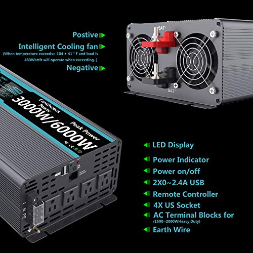 FLAMEZUM Pure Sine Wave Power Inverter 3000Watt DC 12 Volt to 120Volt Peak Power 6000Watt with LCD Display and Remote Control 2X 2.4A USB and 4X AC Outlets