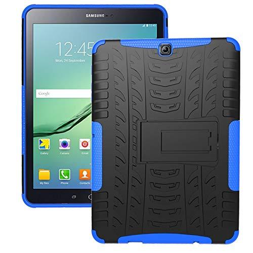 ZHIWEI Tablet PC Bag Coperchio da Tablet per Samsung Galaxy Tab S2 9.7 Pollici   T810 Trama Pneumatico TPU Antiurto TPU + Cassa Protettiva PC con Supporto per Manico Pieghevole (Color : Dark Blue)
