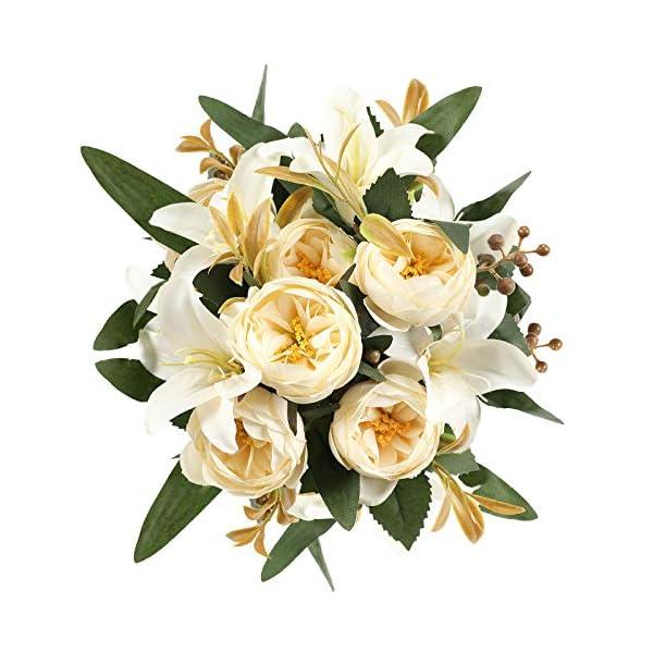 Floralsecret Artificial Silk Peony Flower Faux Lily Flowers Bouquet Home Wedding Table Decor