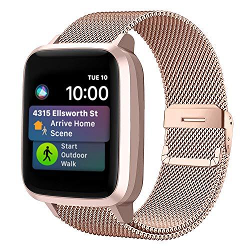 Funbiz Compatible con Apple Watch Metal Correa 38mm 40mm 42mm 44mm, Pulsera de Repuesto de Acero Inoxidable para iWatch Series SE 6 5 4 3 2 1, 42mm/44mm-Oro Real
