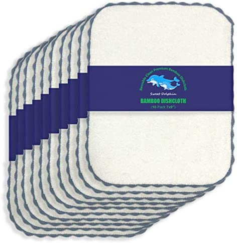 Bamboo Kitchen Dishcloths Eco Friendly No Odor Reusable Dish Towels Premium Dish Cloths Super product image