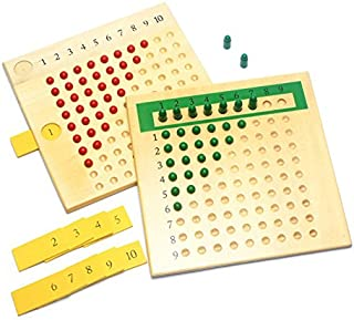 DANNI Early Wood Montessori Math Teaching Toys Multiplication & Division Math Toys Beads Board Red Green Learning