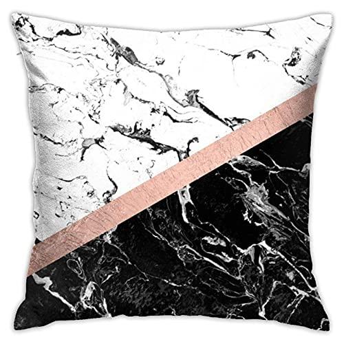 DONGSHAN Chic negro blanco mármol bloque de color oro rosa fundas de almohada decorativas funda de almohada suave sólida funda de cojín 45,7 x 45,7 cm