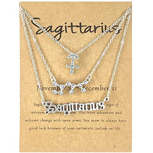 Fiauli 3 collane costellazione lettere simbolo donna strass lucido carta carta alfabeto collana elegante piastra argento lettera collana per party-24