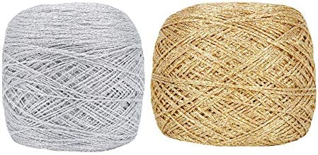 Clisil 50gram Silver 50gram Gold DIY Lurex Glitter Yarn Metallic Yarn Shiny Crochet Thread Sparkle product image