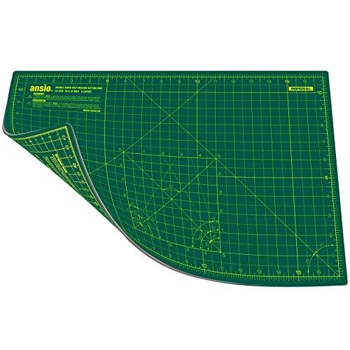 Ansio A3 doble cara auto curación 5 capas de corte Mat Imperial/métrica 17 pulgadas x 11 pulgadas / 45 cm x 30 cm - verde