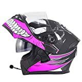 ME&ME Bluetooth Motorcycle Helmets, Modular Helmet with Built-in Bluetooth Headset, Dual Visors DOT Certified Full-Face Motorcycle Helmet for Men with Intercom,Pink,L