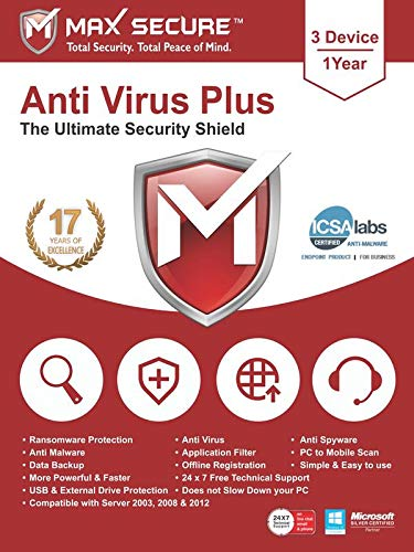 Max Secure Software Antivirus Plus for PC 2019 | 3 Device | 1 Year [PC Online code]