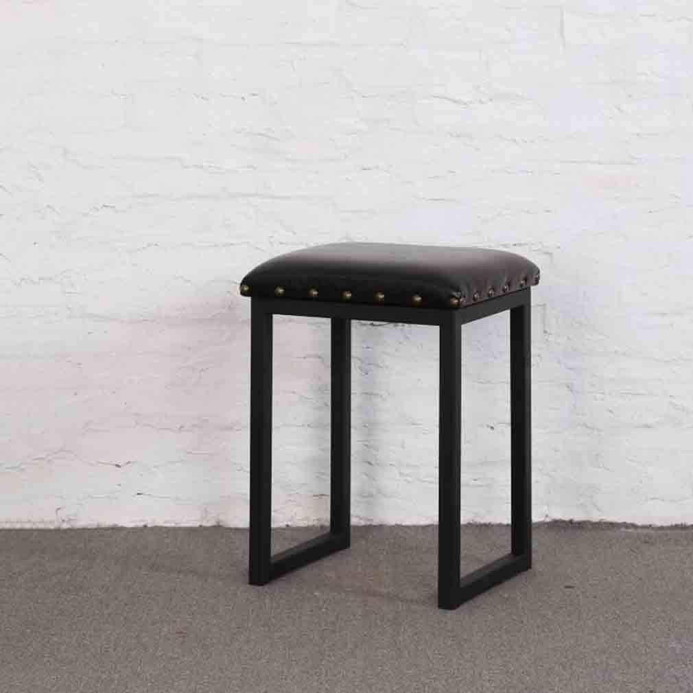 JINYUN Tabourets de chaise tabouret de salle à manger carré simple et moderne cadre en métal robuste, tabouret de maquillage dos nu rembourré en pu, blanc,Or Noir