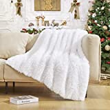 Lvylov Decorative Thick Fluffy Faux Fur Throw Blanket 50'' x 60'', Soft Luxury Warm Fuzzy Blanket for Couch Sofa Chair, Solid Comfy Accent Chic Plush Cozy Furry Blankets with Wash Bag, Washable, White
