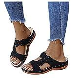 Aniywn Sandals for Women Hollow Out Platform Wedge Sandals Slip-On Open Toe Flip Flops Slippers Casual Summer Sandals Black