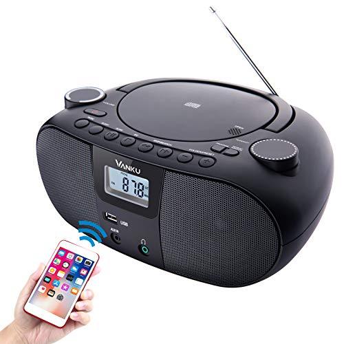 Vanku 12 Hours Portable Radio Boombox CD Player with Bluetooth 5.0, 4000mAh...