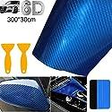 bangminda Autofolie Carbon Folie 6D Auto Folie Selbstklebende Kohlefaser-Vinylfolie, Wasserdichter Autoaufkleber mit Kunststoffschabern für Auto Computer Motorrad Möbel (Blau, 300x30 cm)