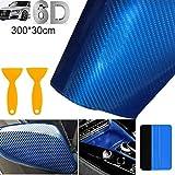 STARPIA 6D Vinilo Fibra Carbono, Película Pegatina Autoadhesiva Impermeable Libre de Burbuja, Decoración Protección para Coche Motocicleta Móvil Ordenador (Azul, 300x30 cm)