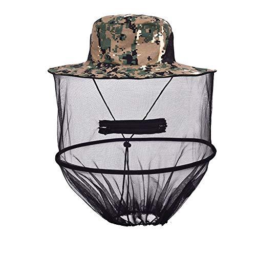 Uticon Mückenhut, Outdoor, Angeln, Sonnenschutz, Anti-Moskito-Netz, Camouflage, Schutzkappe, grün, digitale Camouflage