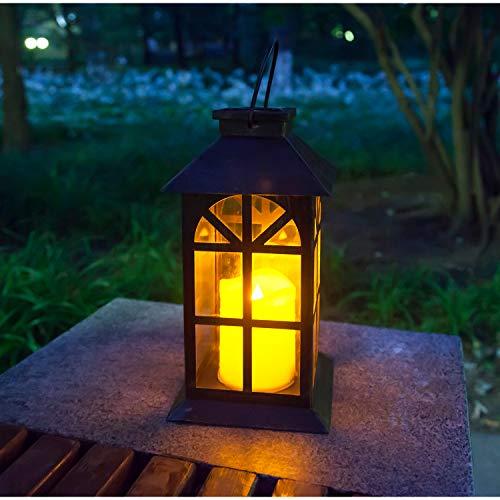 Solar Laterne für außen - mit hell flackernder LED Kerze - Tisch- und Hängelampe - in- und outdoor - extra Metall Laterne im Antik-Stil - dunkles Bronze - Glas fenster - wetterfest - 14x14x28cm