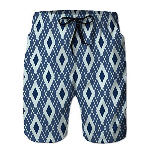 Yuerb Pantalones Cortos de Playa para Hombre Pantalones Cortos de Surf de Moda Traje de baño patrón de Argyle pocilga Japonesa