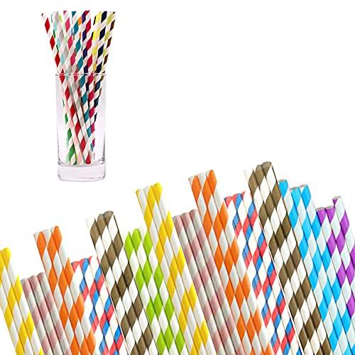 200 cannucce di carta usa e getta colorate ecologiche – Cannucce di carta biodegradabili per cocktail, bevande fredde, succhi di frutta, adatte per compleanni, matrimoni, feste, feste