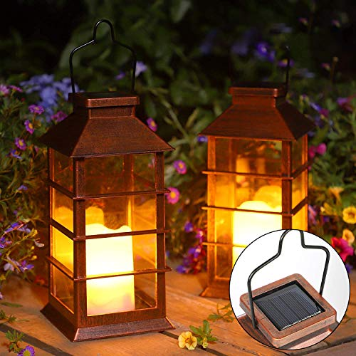 Solar Lantern,Outdoor Garden Hanging Lantern-Waterproof LED Flickering Flameless Candle Mission Lights for Table,Outdoor,Party