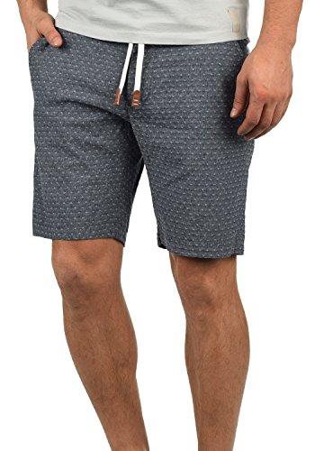 Blend Serge Herren Chino Shorts Bermuda Kurze Hose Mit Rauten-Muster Und Kordel-Gürtel Aus 100% Baumwolle Regular Fit, Größe:3XL, Farbe:Navy (70230)