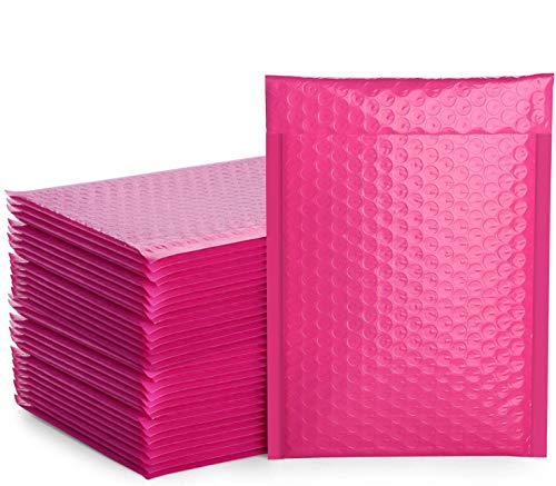 Metronic 25pcs Poly Bubble Mailers 6x10 Inch Padded Envelopes #0 Bubble Lined Poly Mailer Self Seal Pink