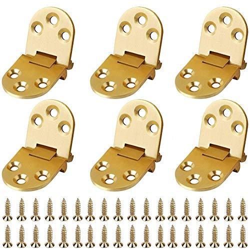 Edelstahl Scharnier,6Pcs BESTZY Türband Türscharnier Innenscharnier Beschlag Möbelscharnier,Scharnier für Schränke,Tisch,Klapptisch,gold
