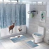 FNMDP 4 Stück Duschvorhang Sets Mit Anti-Rutsch-Teppich, Toilettendeckel Cover, Badvorleger, Durable Wasserdicht Schnee Elch-Dekor