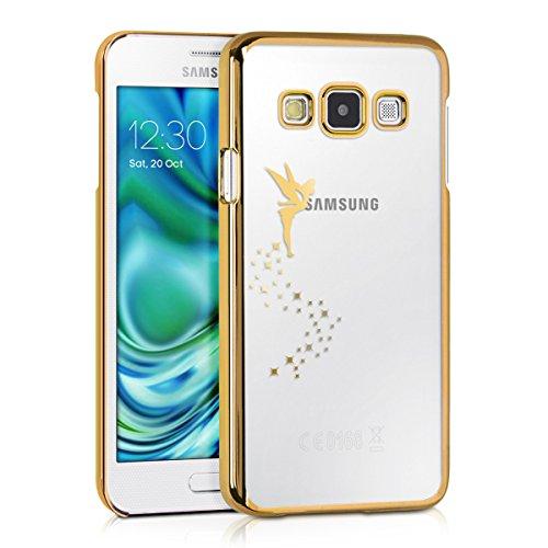 kwmobile Cover Compatibile con Samsung Galaxy A3 (2015) - Custodia Protettiva in Silicone TPU Cristallo Trasparente - Back Cover Case Cellulare Fatina Oro/Trasparente