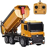 CCM Remote Control Construction Dump Truck Construction Toys Vehicle, RC Truck Toys, Heavy Duty Metal 1:14 Scale, 17.5126 Inches Best Gift for Children PL