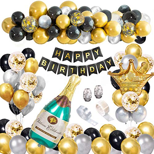 Kit de Guirnalda con Globo Dorado y Negro, Decoracion Fiesta Cumpleaños Niño Guirnaldas Decoracion Cumpleaños Globos, Globos Cumpleaños Decoracione Oro Negro, Para la Fiesta Negra y Dorada