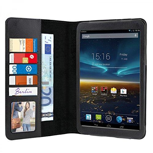 eFabrik Schutz Hülle für Vodafone Smart Tab 4G (8 Zoll) Hülle Tasche Cover Schutztasche Schutzhülle Etui Auto Sleep/Wake up Funktion (Nicht für Smart Tab 4 geeignet !) Leder-Optik schwarz