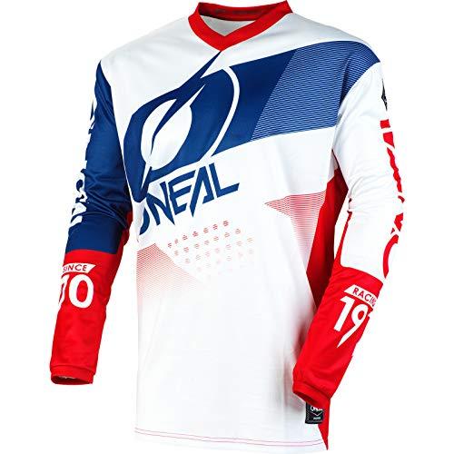 O'NEAL | Motocross-Trikot | Enduro Motorrad | Passform für Maximale Bewegungsfreiheit, Gepolsterter Ellbogenschutz, Atmungsaktiv | Element Jersey Factor | Erwachsene | Weiß Blau Rot | Größe XL