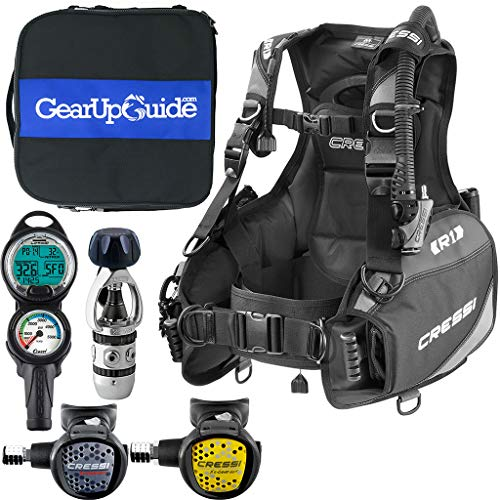 Cressi R1 BCD Leonardo Dive Computer AC2 Compact Regulator Set GupG Reg BagScuba Diving Package Grey Reg L