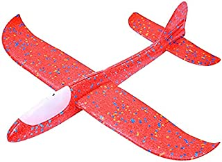 Mumoo Bear Airplane Toy, 18.9 Inches Large Throwing Foam Plane, 2 Flight Mode Glider with LED Lights, Flying Toy for Kids,...