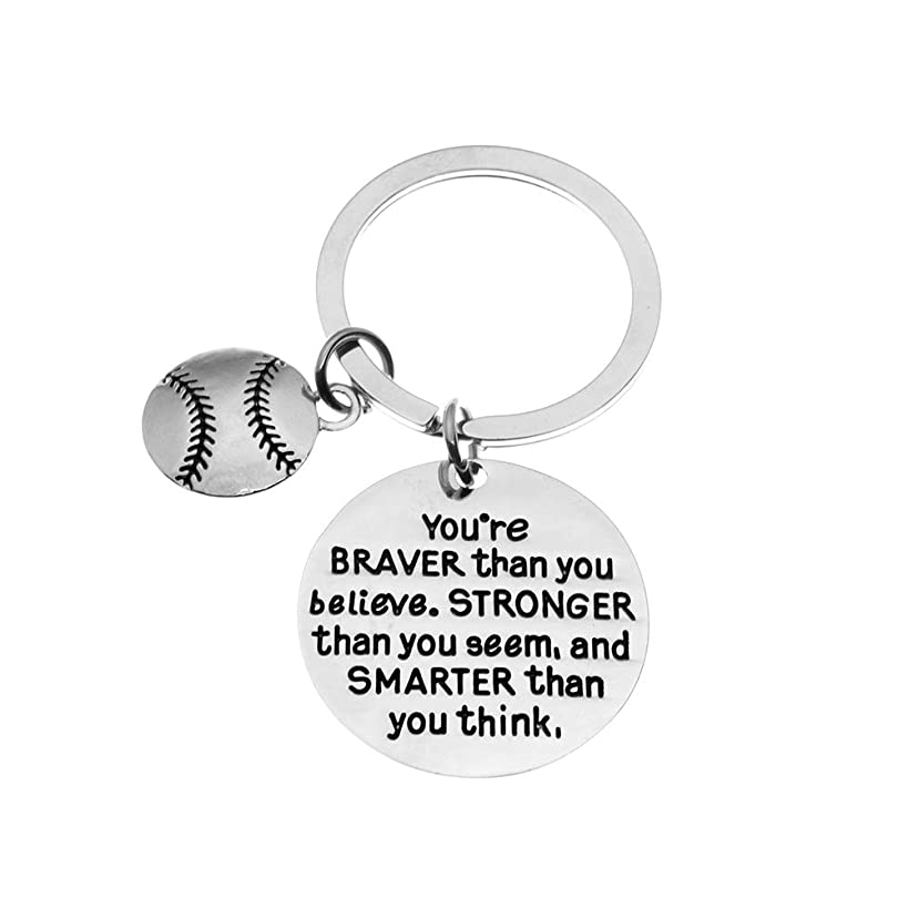 Baseball Charm Keychain, Inspirational You're Braver Than You Believe, Stronger Than You Seem & Smarter You Think Jewelry, Baseball Gifts for Men and Boys