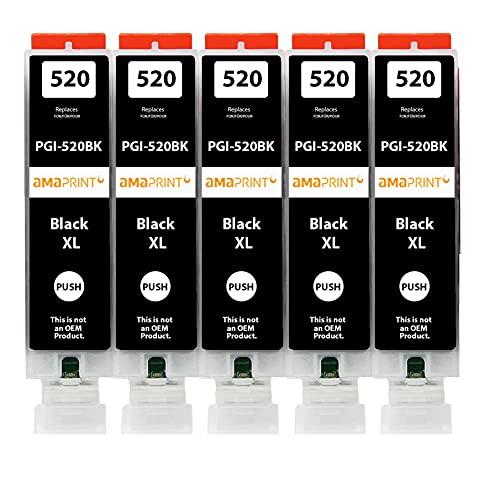 Amaprint 5 XL Patronen kompatibel mit Canon PGI 520 Schwarz für Pixma IP3600 IP4600 IP4700 MP540 MP550 MP560 MP620 MP630 MP640 MP980 MP990 MX860 MX870