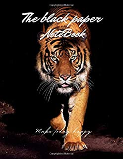 Black paper notebook Eye of the tiger, From the shadows cover,Black blank paper 100 pages -Large(8.5 x 11 inches)