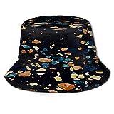 PUIO Sombrero de Pesca,Perfil de Piso de Vector de Fondo de terrazo Oscuro,Senderismo para Hombres y Mujeres al Aire Libre Sombrero de Cubo Sombrero para el Sol