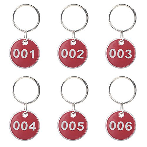 Schlüsselanhänger,50 Stück Nummer Schlüssel Anhänger mit Metaller schlüsselring ,Nummeriert ID Nummer Tags 30 mm Durchmesser,Zahlen 1-50 Rot