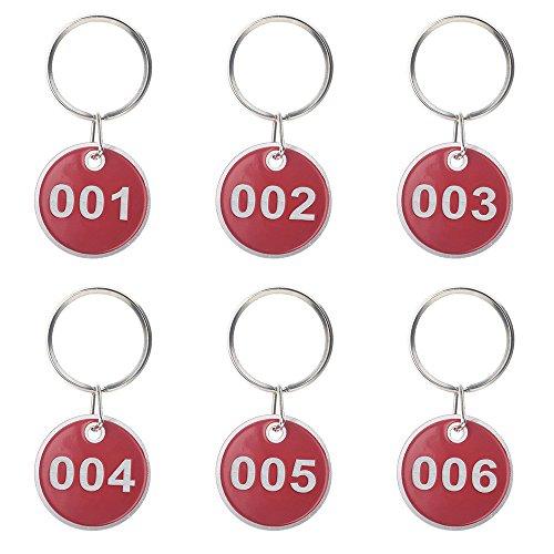 Aspire 50Pcs Schlüsselanhänger Schlüssel Tags mit Metallring Nummer 1-50 Rot