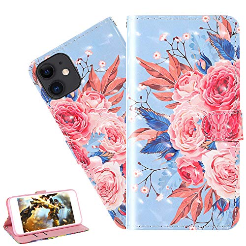 LEMAXELERS iPhone 11 Pro Max Case iPhone 11 Pro Max Cover 3D Glitter Color Flower PU Leather Flip Notebook Wallet Case Magnetic Stand Card Slot Folio Bumper Case for iPhone 11 Pro Max,2YX Color Flower