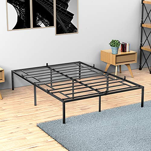 Idealhouse Full Metal Platform Bed Frame with Sturdy Steel Bed Slats,Mattress Foundation No Box Spring Needed Large Storage Space Easy to Assemble Non-Shaking and Non-Noise Black