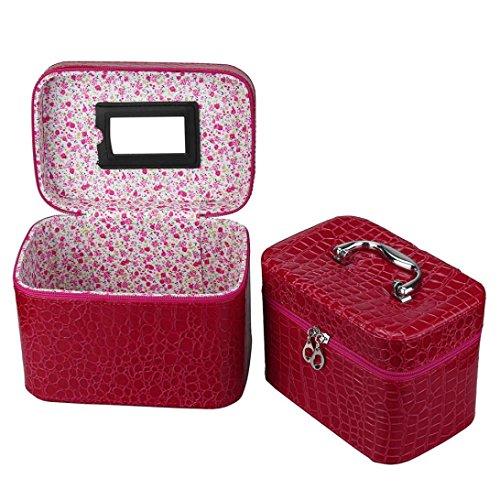 Hunpta 2PC mignon Femme multifonction Voyage cosmétique Sac Mallette de maquillage Pochette de toilette Organiseur rouge Red