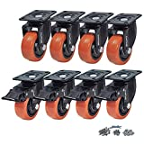 CoolYeah 3 inch Swivel Plate PVC Caster Wheels, Industrial, Premium Heavy Duty Casters (Pack of 8, 4 with Brake & 4 Without)…