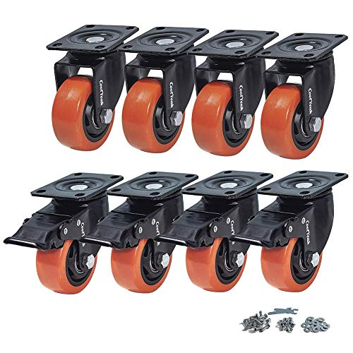 CoolYeah 75mm Swivel Plate Caster PVC Wheels, Industrial, Premium Heavy Duty Casters (Pack of 8, 4 with Brake & 4 Without) …